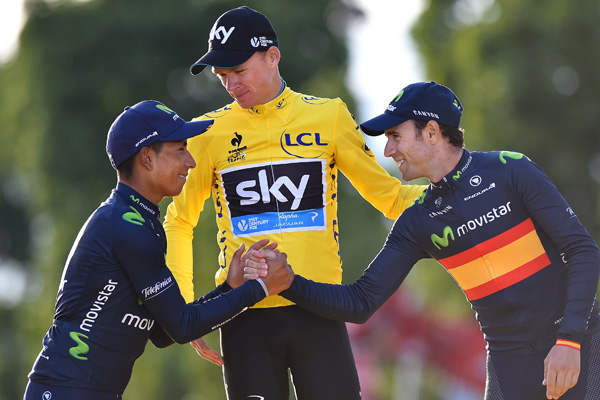 Quintana and Valverde on the Tour Podium in Paris