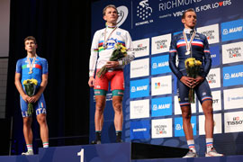 Malori is silver medal on the podium of the 2015 UCI World Championships